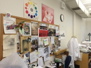 A selection of artwork and decorations in the portfolio art room.