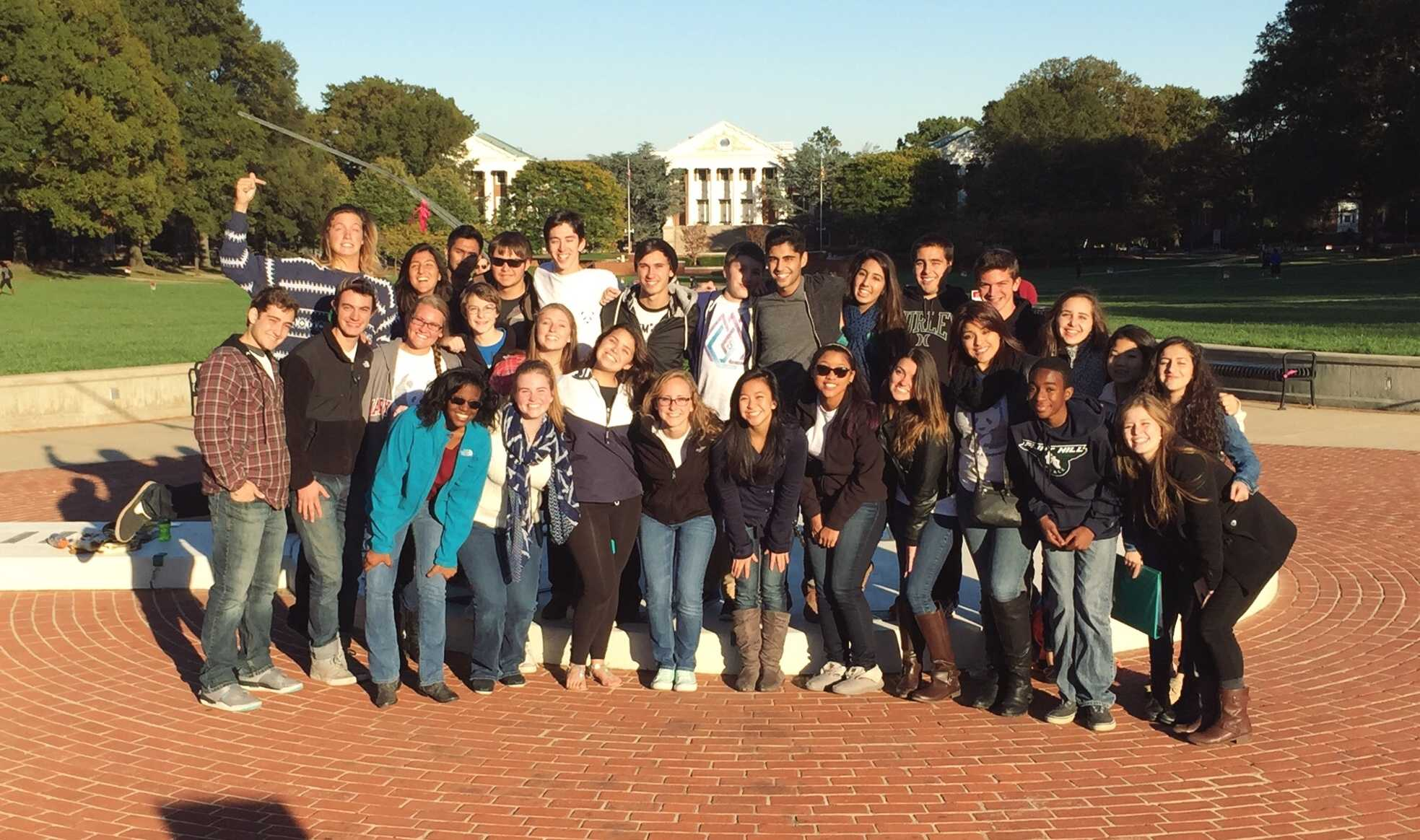 Flint Hill a capella group poses at University of Maryland, College Park.