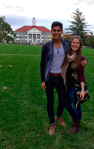 Arman Azad and Courtney Ebersohl pose at James Madison University.