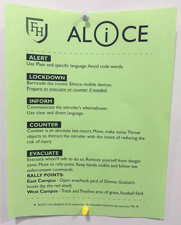 ALICE drill flyers are posted in every room of the school.