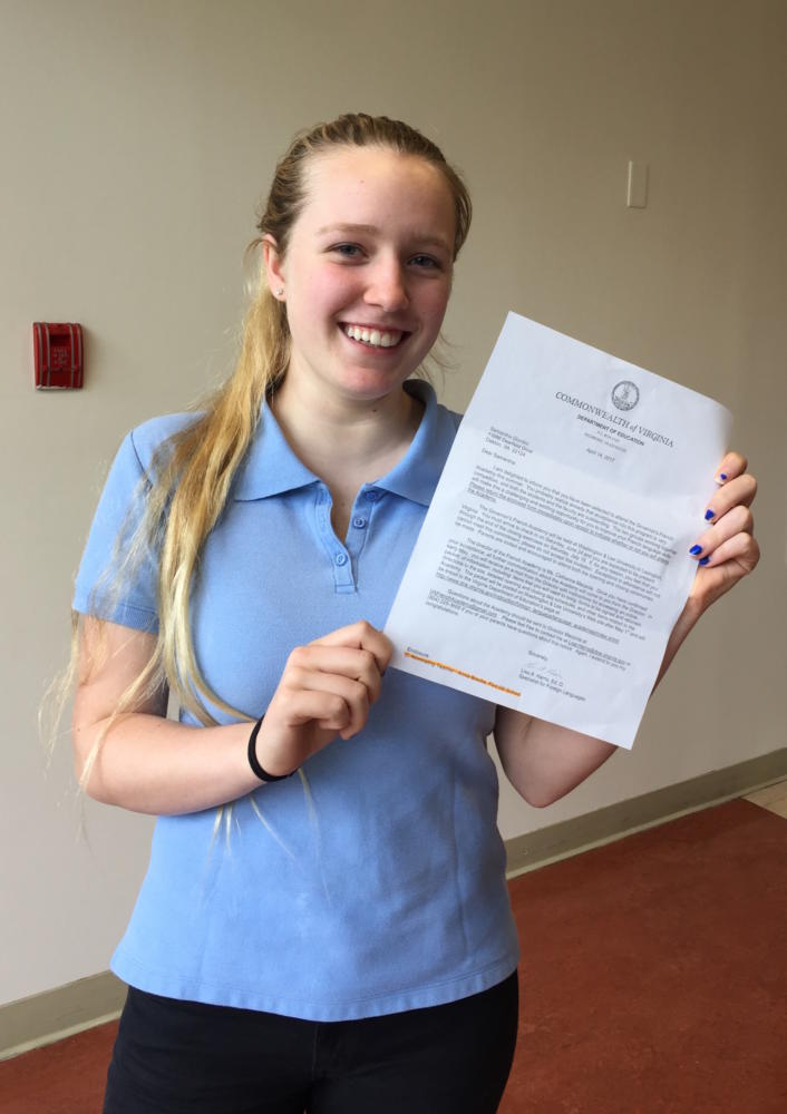 Samantha Giuntini is accepted to Governor's School!