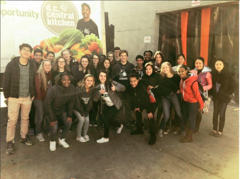 Students from Flint Hill who volunteered at DC Central Kitchen take a picture to remember all their hard work from the day.