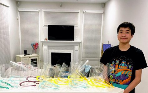 Nathan Bui uses his 3D printer to create medical shields